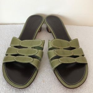 Cole Haan green slip on sandals 1.5 inch heel EUC